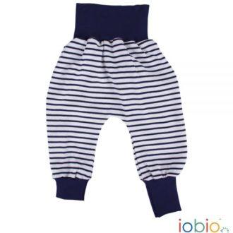 Pantaloni cavallo basso bambino cotone bio righe blu