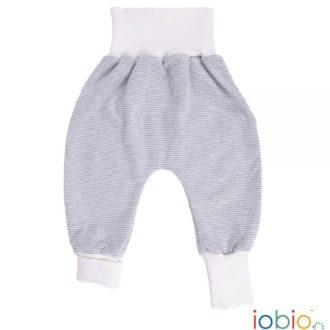 Pantaloni cavallo basso bambino cotone bio righe grigio/bianco