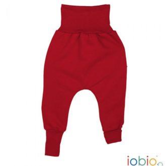 Pantaloni cavallo basso bambino cotone bio felpato rossi
