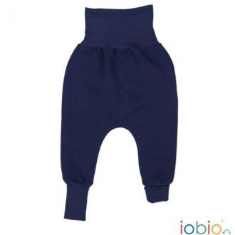Pantaloni cavallo basso bambino cotone bio felpato blu