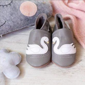 scarpine in pelle neonato grigie