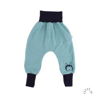 Pantaloni cavallo basso bambino celeste cotone bio